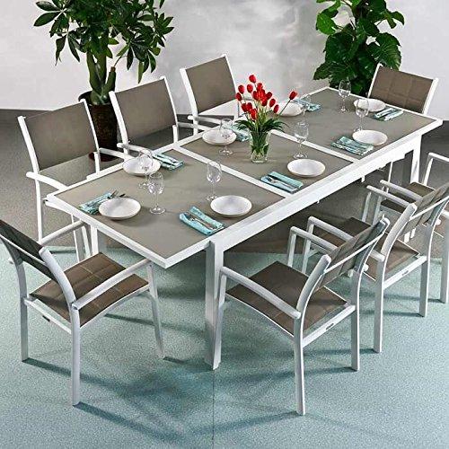 Florence Tisch & 8 Stühle - WEIß & CHAMPAGNERFARBEN   Gartenmöbel-Set mit ausziehbarem 240cm...