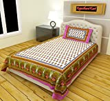 RajasthaniKart 100% Cotton Single Bedshe...
