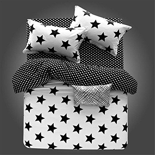 Black e White Star stampa microfibra reversibile 4 pezzi Queen Size Duvet Cover Set con pulsante nascosto (Queen, bianco e nero striscia stelle)