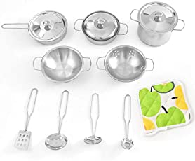 willkey Kinder Kochgeschirr Kinderküchen Zubehör Spielküchen Spielzeug Töpfe Pfannen Löffel Kochgeschirr Küche Spielzeug Geschirr