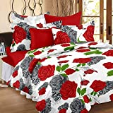 Story@Home 100% Cotton Red Rose  Print Trendy Premium Elegant Double Bedsheets with 2 Pillow Covers, Red, White