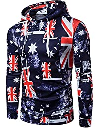 BUSIM Men's Long Sleeve Sweater Hoodie Flag Print Hooded Pullover Sports Jacket Jacket Hooded Sweatshirt Top Fashion...