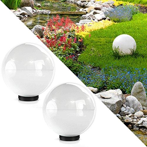Serina Kugelleuchte 40cm Gartenleuchte Lampe Kugellampe Gartenlampe Außenleuchte Leuchte Weiss (2X 40cm Weiß)