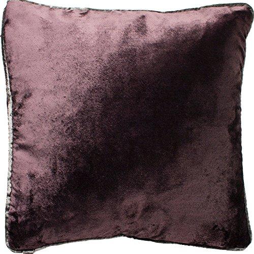 McAlister Textiles Glänzender Samt | Kissenbezug für Sofakissen in Aubergine Violett | 40 x 40cm | gedrückter Samt edel paspeliert | in 11 Farben erhältlich | Kissenhülle für Samtkissen
