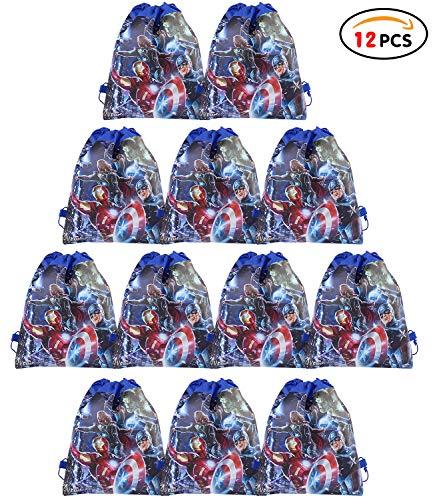 Qemsele borse per bambini borse sacca 12 pcs, zaino con coulisse sacchettini del per bambini e adulti festa di compleanno bambini bomboniare borsa sacchetto festa (avengers, w10 * h12)