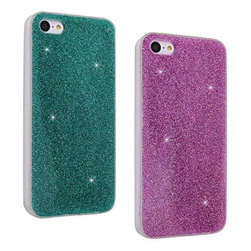 iPhone SE/5S/5 4.0 Zoll Glitter Case, iPhone SE Hülle Glitter, iPhone 5S Hülle Glitter, iPhone 5 Hülle Glitter, Moon mood® Kristall Sparkle Schutzhülle für Apple iPhone 5/5S/SE Ultra Thin Dünn Weich T 2 PCS 2
