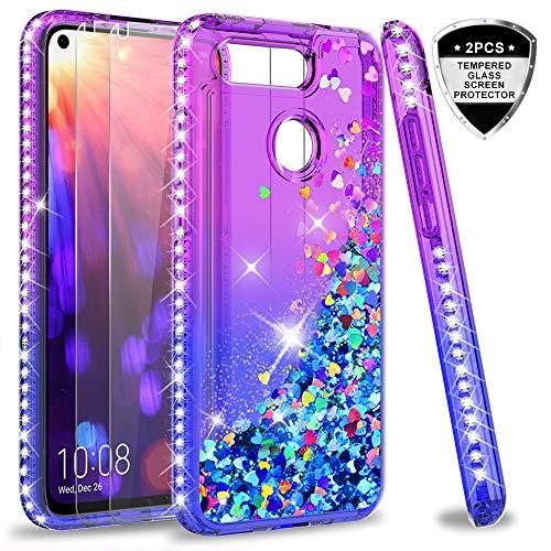LeYi Hülle Huawei Honor View 20 Glitzer Handyhülle mit Panzerglas Schutzfolie(2 Stück), Diamond Cover Bumper Schutzhülle für Case Huawei Honor View 20 Handy Hüllen ZX Gradient Purple Blue