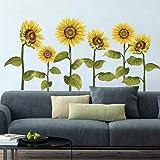 decalmile Pegatinas de Pared Girasol Vinilos Decorativos Flores de Jardín Adhesivos Pared Habitación Infantiles Dormitorio Sa