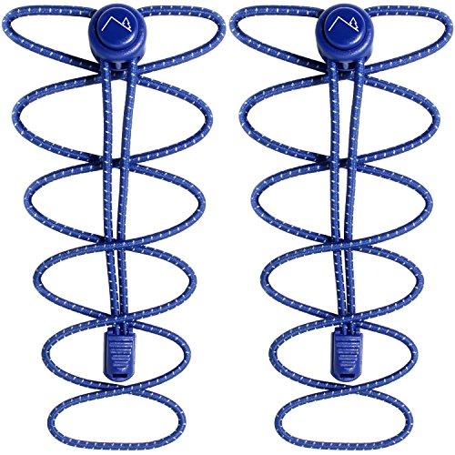 Campteck no tie lacci - lacci elastici per scarpe con sistema autobloccanti ideale per bambini, anziani, corsa, sport, scarpe da ginnastica, maratona - blu (1 paio)