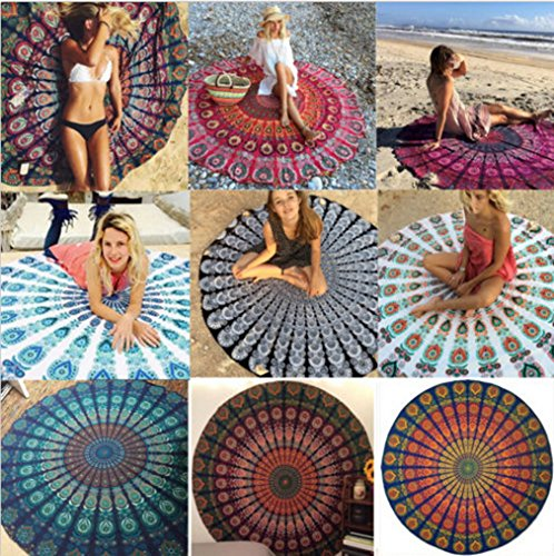 Smile YKK 150*150cm Mehrfarbig Mandala Tischdecke-Wandteppich-Picknickdecke-Schal Geblümt # G