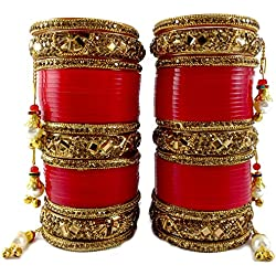 BACHATWALA Red Designer Golden Stone with Glass Cut Chura Set for Bridal Dulhan Wedding Engagement Punjabi Choora Fashion Jewellery Chuda Set - Size 2.6