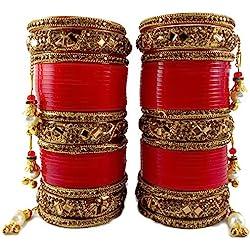 BACHATWALA Red Designer Golden Stone with Glass Cut Chura Set for Bridal Dulhan Wedding Engagement Punjabi Choora Fashion Jewellery Chuda Set - Size 2.6