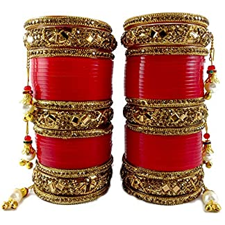Golden Stone Glass Cut Chura Set for Punjabi Bride