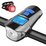 KKmoon LED Fahrradlicht Set, USB Wiederaufladbare Fahrradlampe Frontlicht Vorne Licht Rücklicht, Fahrradbeleuchtung mit…