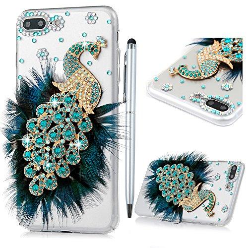 iPhone 7 Plus Custodia Bling Glitter 3D DIY Strass Trasparente Rigida Plastica Hard - MAXFE.CO Case Cover Shock-Absorption Bumper,Duro Plastica PC Protettiva,Cristallo Diamante per Cover iPhone 7 Plus 5.5