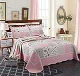 Unimall Tagesdecke Baumwolle 220x240 cm Landhaus Stil mit Blumen Muster (Rosa)