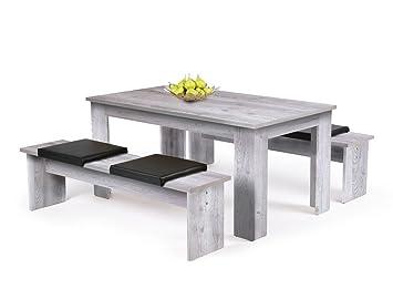 Küchenzeile 160 cm  Tischgruppe Hamburg Sorrento Eiche Esstisch 2x Bank Länge nach ...