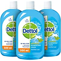 Dettol Liquid Disinfectant for Personal Hygiene , Surface Disinfection , Floor Cleaner , Menthol Cool , (Pack of 3 - 500…