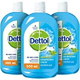 Dettol Liquid Disinfectant for Personal Hygiene , Surface Disinfection , Floor Cleaner , Menthol Cool , (Pack of 3 - 500 ml