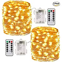 Battery Powered Fairy Lights, [2 Pack] 10m 100 Led String Lights Battery Operated with Remote Control & Timer Waterproof for Christmas Party Garden Decoration Lights (Warm White)