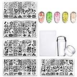 Biutee 5 pcs Plaques avec Tampon Grattoir Plaque Stamping Nail Art Tampon Transparent Estampillage Image Dentelle Fleur (Série de Plantes)