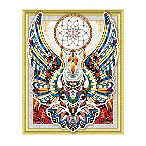 MXJ DIY Special Shape 5D Diamant Gemälde nach Zahlen Kits Strass Runde Bohrer-Stickerei Bild Kunst Handwerk für Zuhause Wand Dekor Farbiger Adler 40,6 x 50,8 cm