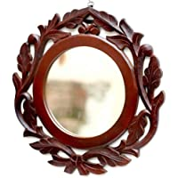 Fabulo Wooden Round Mirror Wall-Mounted Frame Vanity Mirror for Living Room Bathroom Bedroom (Brown)