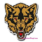 2 x Glossy Vinyl-Sticker-Wolf Angry Cool Gitarre #) 0130, As shown., 8.8cm Wide x 10cm Tall