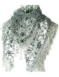 Butterme - pañuelo tipo chal con borlas y encaje, transparente, estampado floral, forma de Triángulo, elegante gris medio