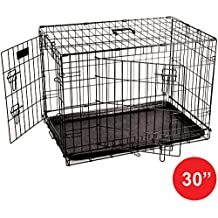 Home Discount Pet Cage Metal Folding Dog Puppy Animal Crate Vet Car Training Carrier With Tray, 30 Inch