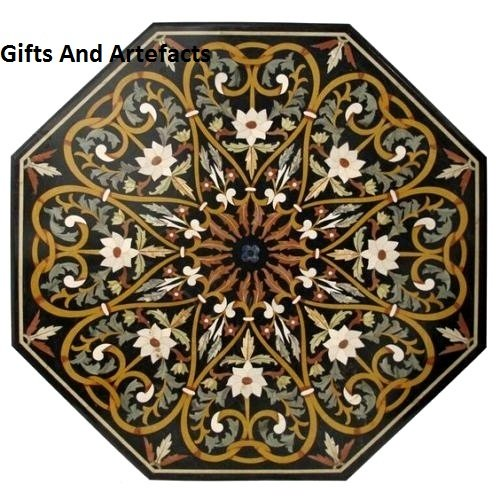 Inlay Top Sofa Tisch (Gifts And Artefacts Sofa Center Tisch Top 121,9 cm Octagon schwarz Marmor Inlay Herz Art & Floral Design)