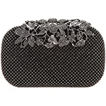 Bonjanvye Flower Purses with Crystal Rhinestones Evening Clutch Bags
