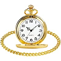 Smooth Vintage Steel Quartz Pocket Watch Classic Fob Pocket Watch with Short Chain for Men Women - Gift for Birthday…