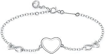 Tusuzik - Braccialetto regolabile in argento Sterling 925 con simbolo dell'amore infinito, simbolo dell'amore infinito, per donne e ragazze