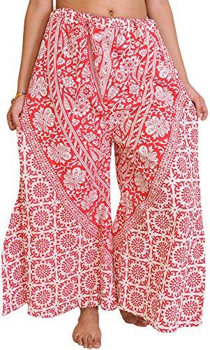 India Palazzo pantalones de Pilkhuwa con las flores y los elefantes impresos