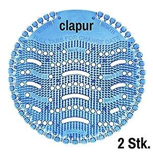 clapur Urinalsieb (2 Stk.) Duft Baumwollblüte, Austausch-Indikator, Spritzschutz, für jedes Pissoir, Urinal, Geruch und Lufterfrischer, rund, blau