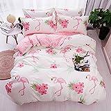 DOTBUY Flamingos Bettbezug Set, 100% Super Weiche und Angenehme Mikrofaser Einfache Bettwäsche Set Gemütlich enthalten Bettbezug Bettlaken Kopfkissenbezüge
