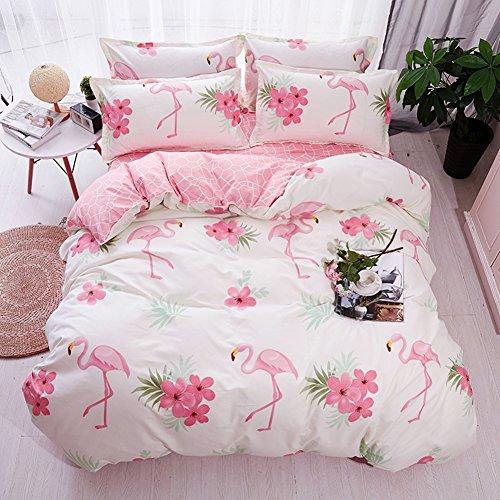 Fansu Bettbezug Bettwäsche Set 4 TLG, Mikrofaser Flamingo Bedrucktes Bettwäsche-Set Kopfkissenbezug Bettlaken Bettbezug mit Reißverschluss Schließung (135x200cm,Flamingo - Rosa)