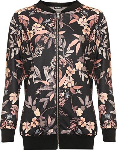 wearall-femmes-plus-floral-feuille-bombardier-veste-dames-imprimer-longueue-manche-fermeture-eclair-