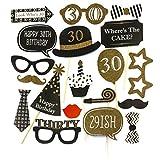 Oblique-Unique® 20 Stück 30. Geburtstag Foto Props Masken Kerze Torte Fotorequisiten Ballon Partydekoration