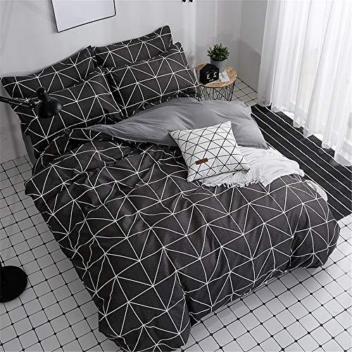 YUNSW Einfache Black Plaid Pattern Polyester Bettwäsche Bettbezug mit Reißverschluss Quilt Tröster Decke Fall A 220x240cm