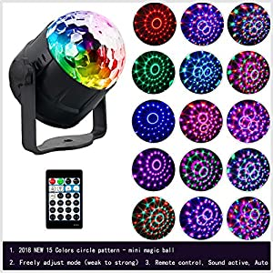 [2019 New] Disco Ball Light(15 Colors), Alitade Sound Activated Party Lights, Disco Lights for Kids Parties, Rotating DJ lights with Remote Control for Kids Birthday, Family Gathering Stage Wedding