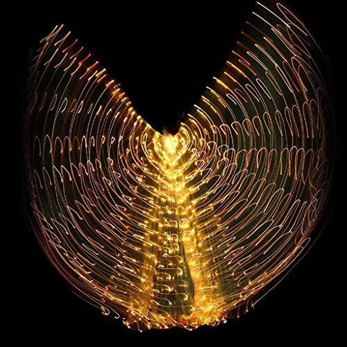 Dance Kostüm Mit Federn Latin - Wgwioo Dance accessories Mit Verstellbarem Stick Mehrfarbige Isis Flügel 360 Grad Frauen LED Licht Bauchtanz Große Schmetterling Stützen Leistung Professionelle Outfit Kostüm Yellow Adult
