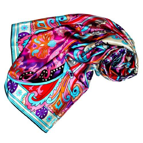 Wunderschöne Damen Mantel Jacke Seide (LORENZO CANA Luxus Seidentuch aufwändig bedruckt Tuch 100% Seide 110 x 110 cm harmonische Farben Damentuch Schaltuch)