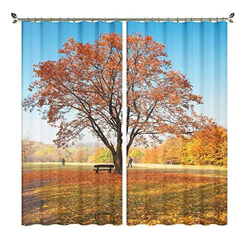 XFKL Herbst-Naturlandschafts-Digitaldruck-Muster-Blackout-Vorhänge, 100% Polyester-Geräuschreduzierung, das das Reduzieren des Fensters Verkleidet 2 Panels verringert,D,W203*H213cm -