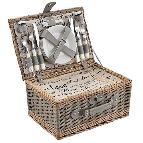 [casa.pro]® Picknickkorb für 4 Personen - Picknick-Set mit Kühltasche inkl. Geschirr, Besteck, Korkenzieher und Gläser (grau)