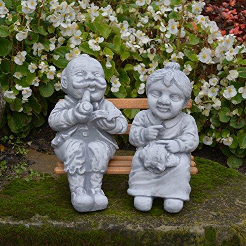 Divertido Jardín Figura abuelo y abuela en banco de piedra, resistente a las heladas.