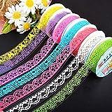 Lucky Will Lot de 3 dentelle ruban adhésif Washi Tape Ruban décoratif scrapbooking Stickers décoratifs Papier Masking Tape lila weiß grün