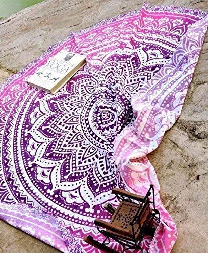 Raajsee Indien Strandtuch Rund Mandala Hippie Lila Rosa /Groß Indisch Rundes Baumwolle Mehrfarbige/ boho Runder Yoga Matte Tuch Meditation / Tischdecke Rund aufhänger Decke picknick handgefertigt Teppich 70 inch