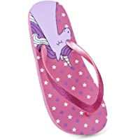 Girls Kids Glitter Unicorn Flip Flops